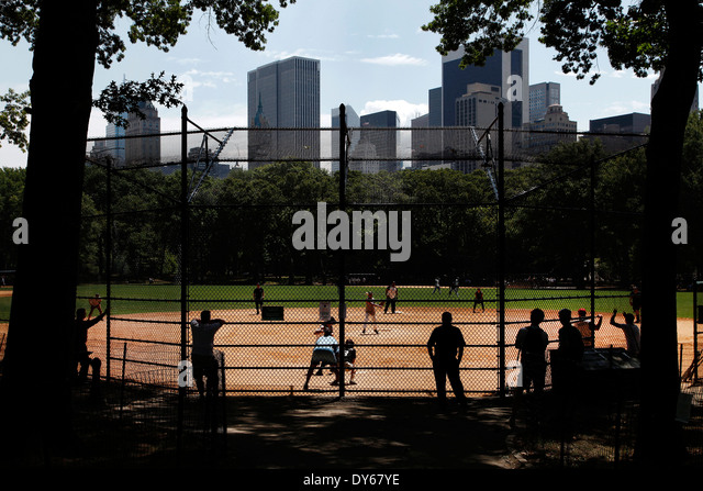 Baseball field in Central Park, New York, United States - Stock Image
