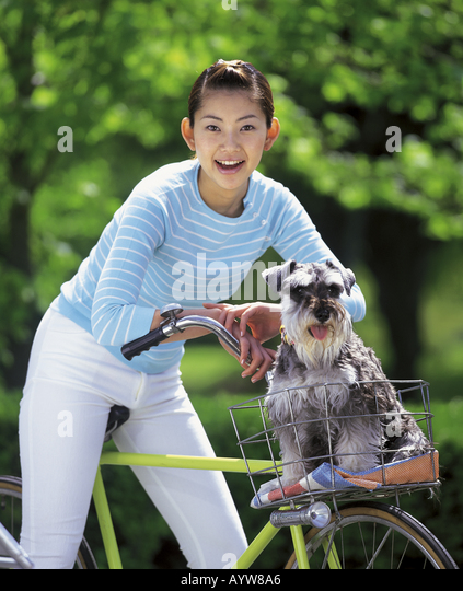 Woman on a bicycle with her dog in the basket - Stock-Bilder