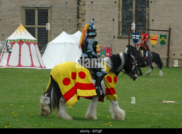 Knight and tents - Stock Image