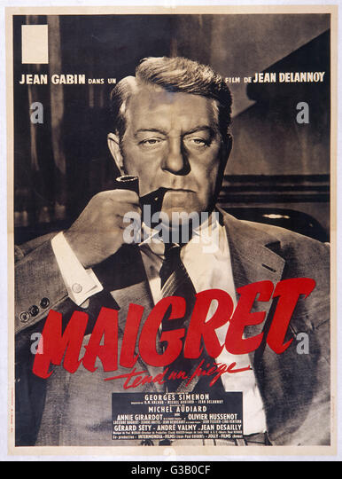 JEAN GABIN  French actor as Maigret  on a poster advertising the Jean Delannoy film       Date: 1904 - - Stock Image