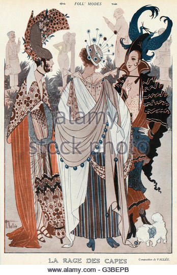 A satire on the fad for capes.  Other styles of the period are  included and sent up including  verically trimmed - Stock-Bilder