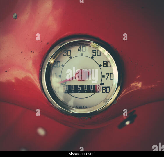 Speedometer On A Vintage Italian Scooter - Stock Image
