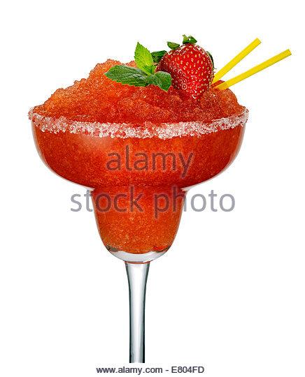 strawberry daiquiri or cocktail on white background - Stock-Bilder