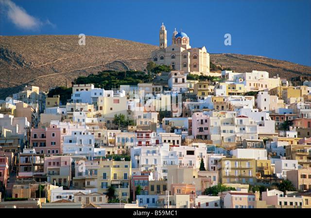 City skyline and church of Anastasis Ermoupolis City Syros Cyclades Greek Islands Greece Europe - Stock Image