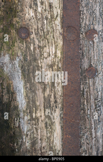 rusty metal and wood background - Stock Image
