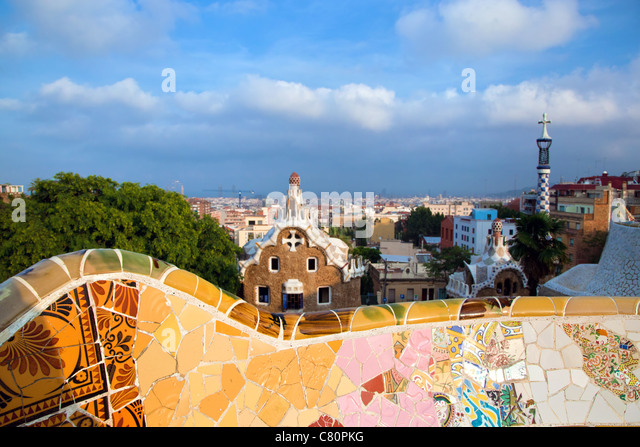 Barcelona from Park Guell, Barcelona, Spain - Stock Image