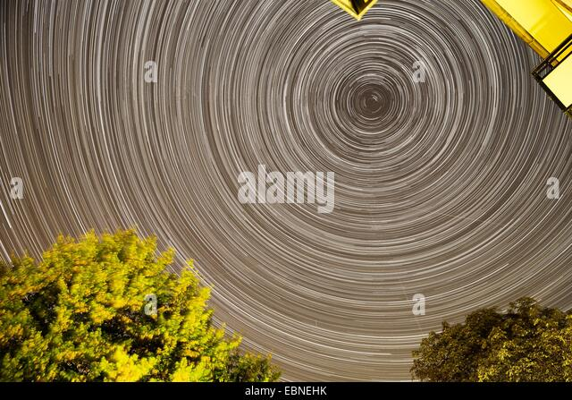 star trails above Hamburg, Germany, Hamburg - Stock Image