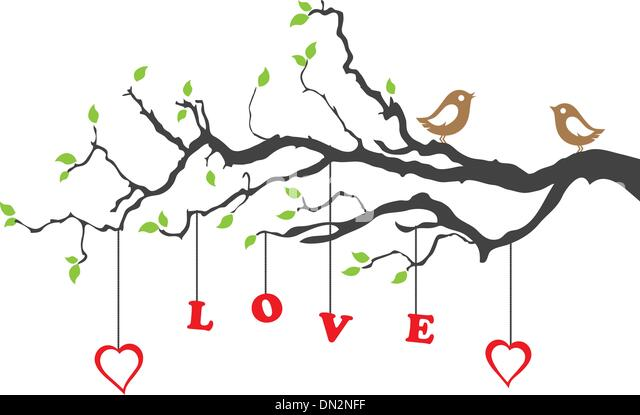Love birds and a beautiful floral ornament - Stock-Bilder