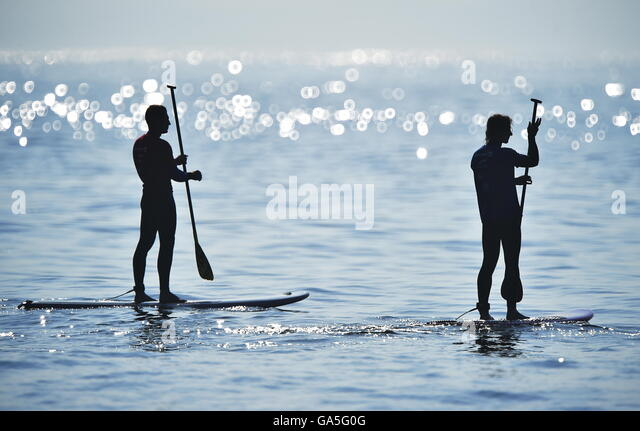Vladivostok, Russia. 3rd July, 2016. Stand up paddle boarders take part in the 2016 Quiksilver SUP Surfing Cup event - Stock Image