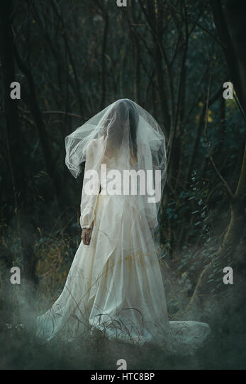 Creepy lone bride in misty woods . Halloween conceptual - Stock-Bilder