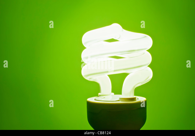 Green Lightbulb - Stock Image