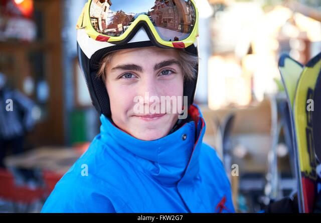 Boy on skiing holiday - Stock Image