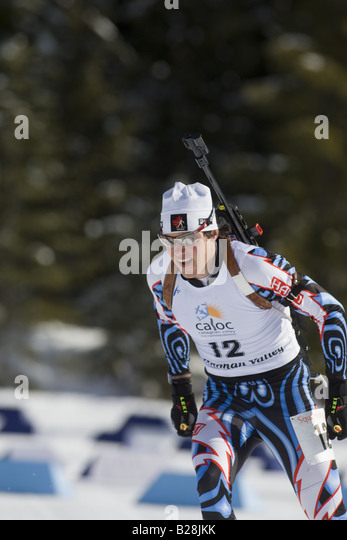 Cross Coutry Ski Racers British Columbia Canada - Stock Image