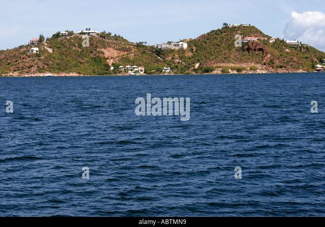Saint Martin French Simpson Bay Lagoon hills homes - Stock Image