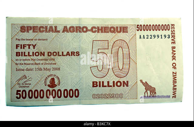 Fifty billion dollar Zimbabwe bank note - Stock Image