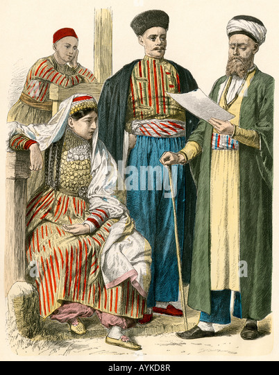 Russian Tatars from the Crimea in their native attire - Stock Image