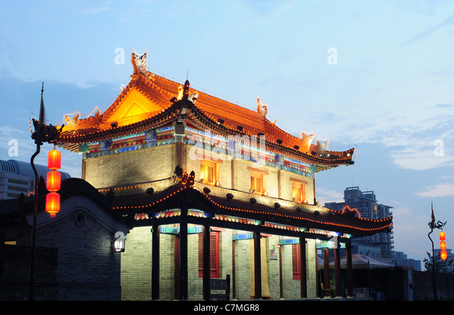 Night scenes of the famous ancient city of Xian, China - Stock-Bilder