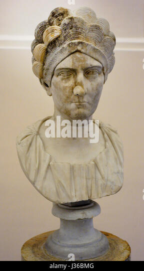 Roman woman. Unidentified portrait. Trajanic period (AD 98-117). National Archaeological Museum. Naples. Italy. - Stock Image