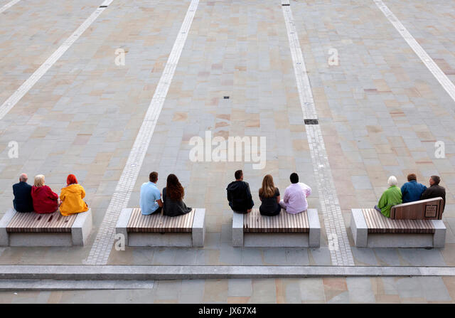People at the Piece Hall on re-opening day after refurbishment, Halifax, West Yorkshire - Stock Image