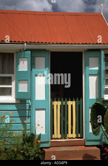 Nevis traditional wooden house - Stock Image