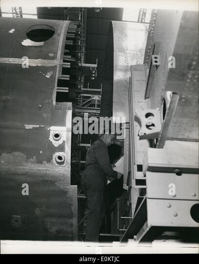 Jan 1, 1950 - Building The Britannia Air Liner: Two parts of the fuselage for the Britannia ready for joining together. - Stock Image