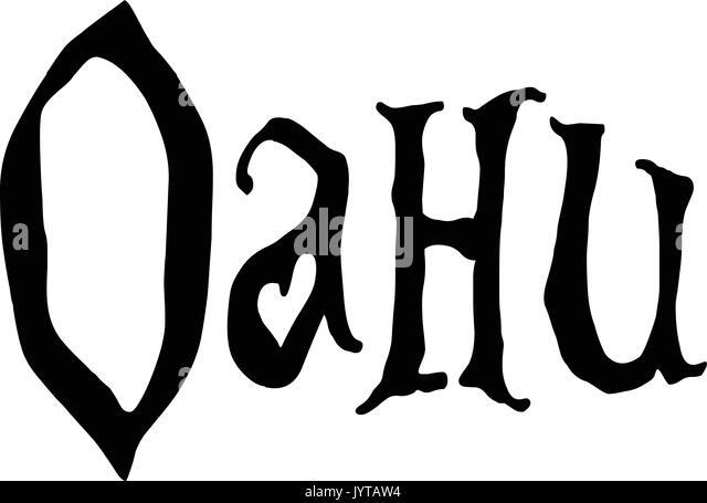 Oahu text sign illustration on white background - Stock Image