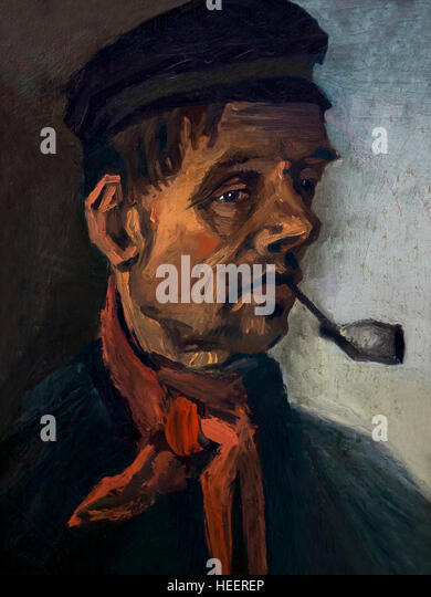 Head of a Man with a Pipe, by Vincent van Gogh, 1885, Kroller-Muller Museum, Hoge Veluwe National Park, Otterlo, - Stock Image