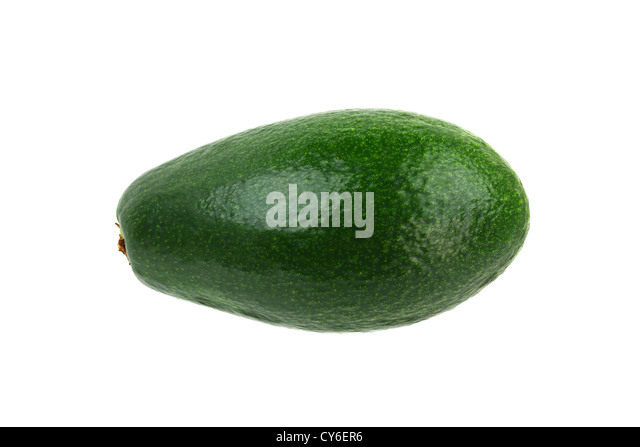 Green avocado isolated on white. Also known as alligator pear - Stock Image