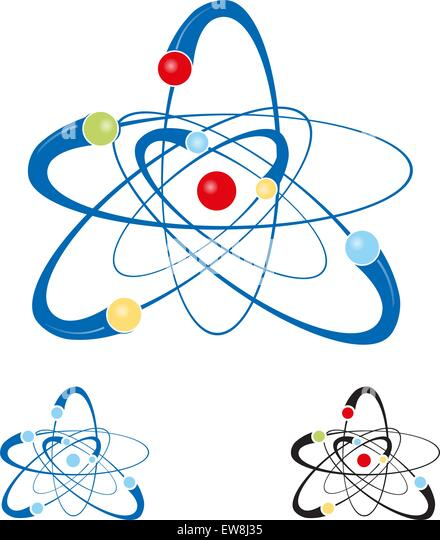 atom symbol set isolated on white background - Stock-Bilder