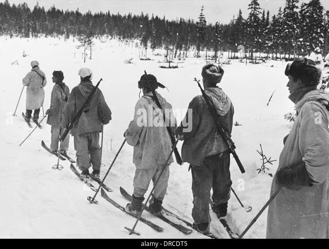 Ski troops in Finland WWII - Stock Image