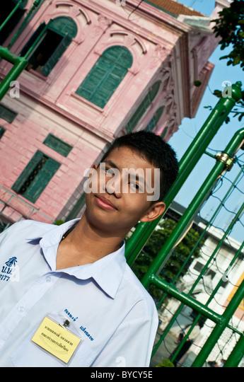 Schoolboy at Mattayom Wat Benjamaborpit school, Bangkok, Thailand - Stock Image