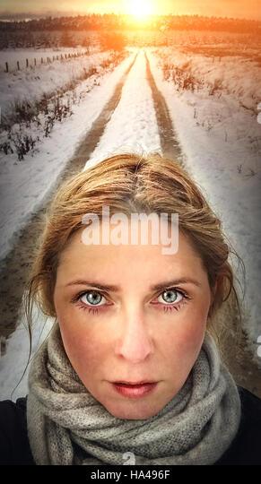 artistic illustrative portrait close up of woman face - Stock Image