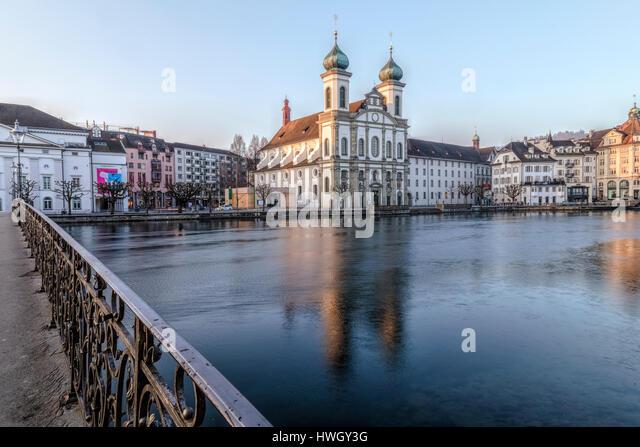 Lucerne, Reuss, Jesuit Church, Rathaussteg, Switzerland, Europe - Stock-Bilder