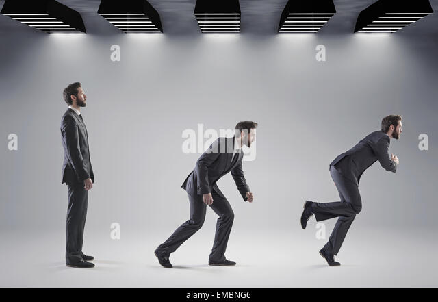Conceptual picture of man starting his new career - Stock Image