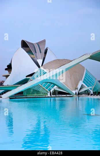 architect architecture art backgrounds body of water building built structure Cac Calatrava city City of Arts and - Stock-Bilder