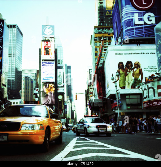 Busy street, Times Square, Manhattan, New York City, USA - Stock Image