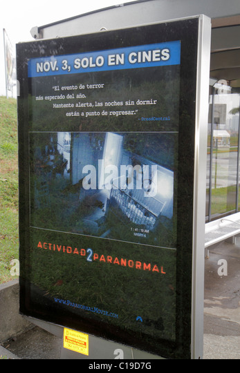 Panama City Panama Amador outdoor advertisement ad advertising marketing sign backlit display movie opening Spanish - Stock Image