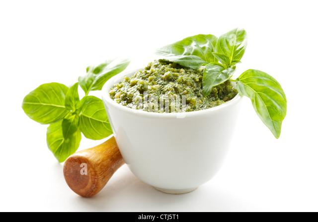 basil pesto sauce - Stock Image