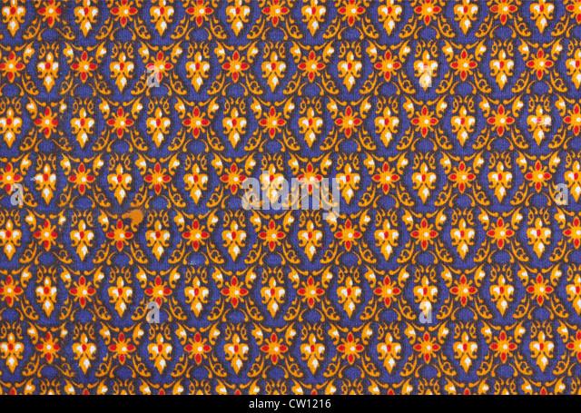Texture of traditional Thai style cotton fabric - Stock-Bilder