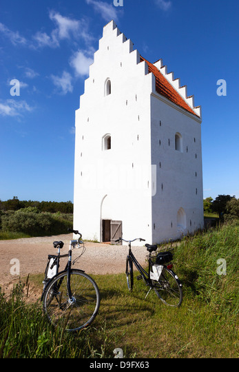 Tower of Den Tilsandede Kirke (Buried Church) buried by sand drifts, Skagen, Jutland, Denmark - Stock Image