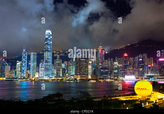 Victoria Harbour, Business and Financial district of Central, Hong Kong Island, Hong Kong, China, Asia - Stock Image