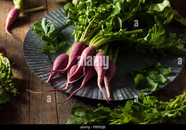 Raw Organic Purple Radishes Ready to Eat - Stock Image