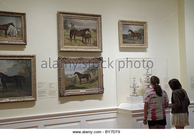 Maryland Baltimore Baltimore Museum of Art Wyman Park gallery exhibition collection painting horses girl child student - Stock Image