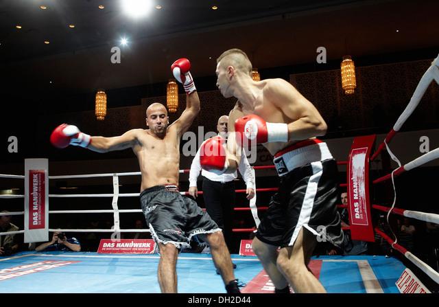 Professional boxing match, fight between Cem Kumazcan and Ramazan Koelge, Rhein-Mosel-Halle, Koblenz, Rhineland - Stock Image