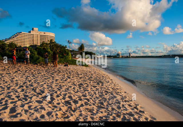 The Bay of Tamuning with its hotel resorts in Guam, US Territory, Central Pacific, Pacific - Stock Image