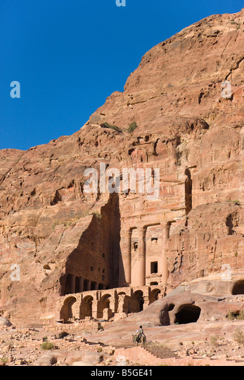 Boy riding camel at Al Mahkama Petra Jordan - Stock Image