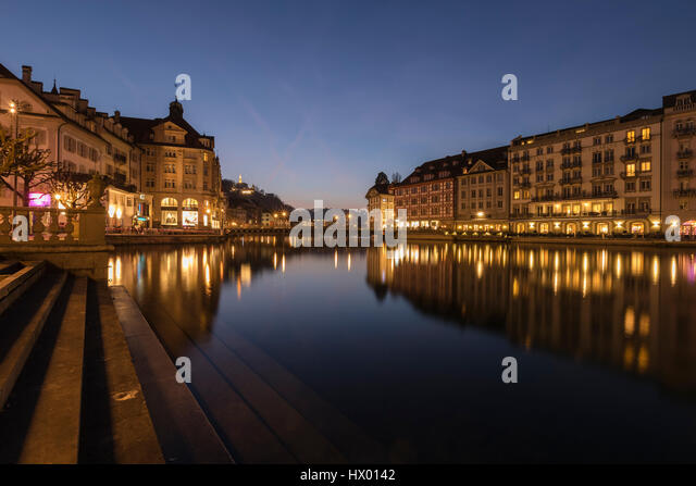 Lucerne, Reuss, Jesuit Church, Nadelwehr, Switzerland, Europe - Stock-Bilder