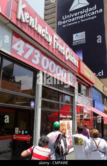 Santiago Chile Providencia Avenida Libertador Bernardo O'Higgins Kentucky Fired Chicken restaurant American - Stock Image