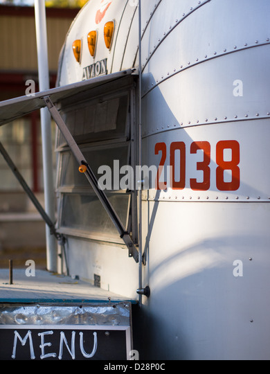 Food Truck inside of a metal Airstream trailer in Austin, Texas - Stock Image