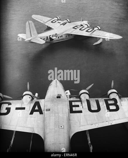Series of images for Daily Herald Feature flight to Australia. 26th June 1938 Imperial Airways Shorts C Class Empire - Stock Image